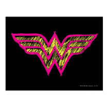 Wonder Woman Colorful Pink and Yellow Logo Postcard
