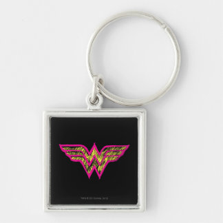 Wonder Woman Colorful Pink and Yellow Logo Silver-Colored Square Keychain