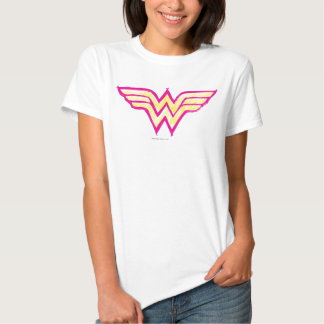 Wonder Woman Colorful Pink and Yellow Logo T Shirt