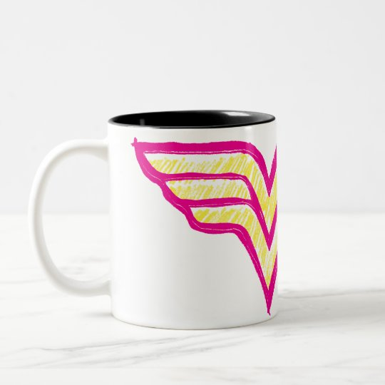 Wonder Woman Colorful Pink and Yellow Logo Two-Tone Coffee Mug