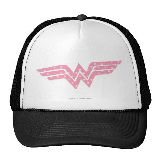 Wonder Woman Colorful Pink Floral Logo Trucker Hats