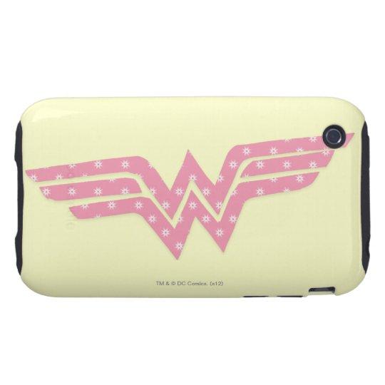 Wonder Woman Colorful Pink Floral Logo iPhone 3 Tough Case