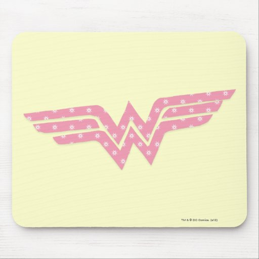 Wonder Woman Colorful Pink Floral Logo Mouse Pad