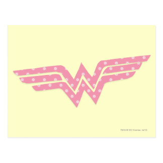 Wonder Woman Colorful Pink Floral Logo Postcard