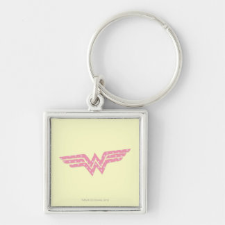 Wonder Woman Colorful Pink Floral Logo Silver-Colored Square Keychain