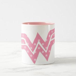Wonder Woman Colorful Pink Floral Logo Two-Tone Coffee Mug