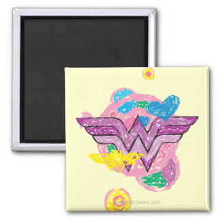 Wonder Woman Colorful Scribbles 2 Inch Square Magnet