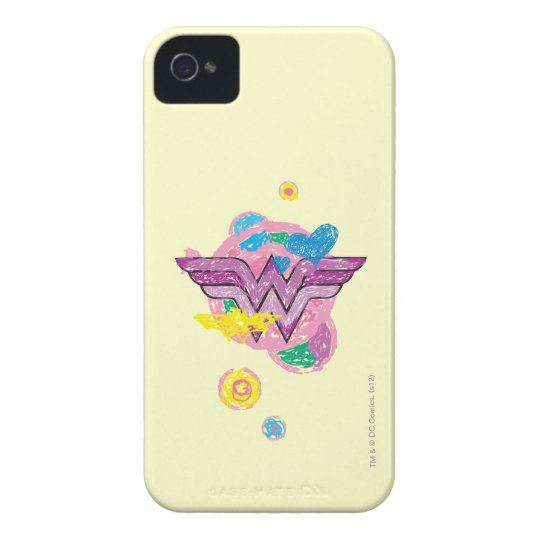 Wonder Woman Colorful Scribbles Case-Mate iPhone 4 Case