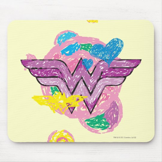 Wonder Woman Colorful Scribbles Mouse Pad