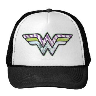 Wonder Woman Colorful Sketch Logo Mesh Hat