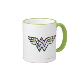 Wonder Woman Colorful Sketch Logo Ringer Coffee Mug