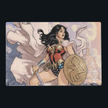 "Wonder Woman Comic Cover #13 Placemat<br><div class=""desc"">Customize your product featuring this comic book cover for Wonder Woman Vol. 3 Issue #13: From The Flames. Wonder Woman dressed in a cape with sword and shield stands on the ruined steps of the Lincoln Memorial.</div>"