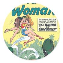 Wonder Woman Crocodiles Classic Round Sticker