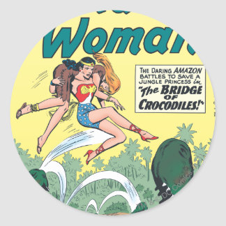 Wonder Woman Crocodiles Classic Round Sticker