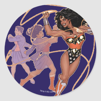 Wonder Woman Diana Prince Transformation Classic Round Sticker