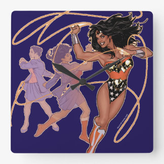 Wonder Woman Diana Prince Transformation Square Wall Clock