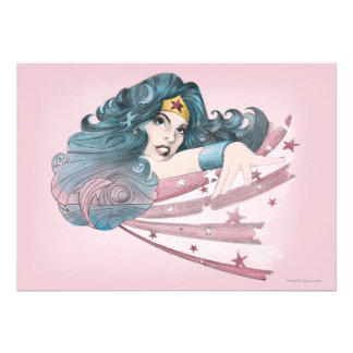 Wonder Woman Dolphin and Stripes Personalized Invitation