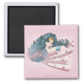 Wonder Woman Dolphin and Stripes 2 Inch Square Magnet