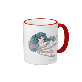 Wonder Woman Dolphin and Stripes Ringer Coffee Mug