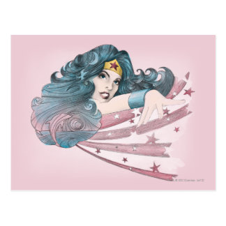 Wonder Woman Dolphin and Stripes Postcard