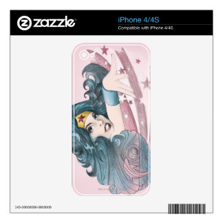 Wonder Woman Dolphin and Stripes Skin For The iPhone 4