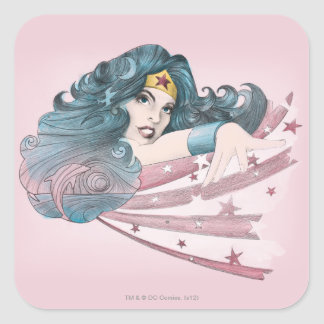 Wonder Woman Dolphin and Stripes Square Sticker