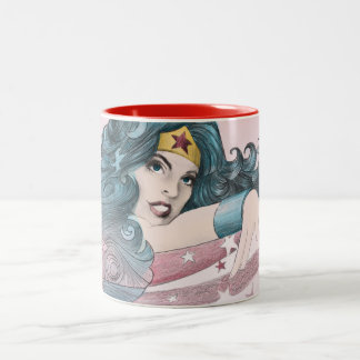 Wonder Woman Dolphin and Stripes Two-Tone Coffee Mug
