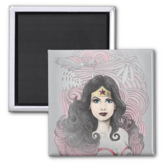 Wonder Woman Eagle and Trees 2 Inch Square Magnet