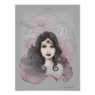 Wonder Woman Eagle and Trees Print