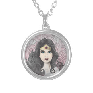 Wonder Woman Eagle and Trees Round Pendant Necklace