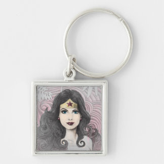 Wonder Woman Eagle and Trees Silver-Colored Square Keychain