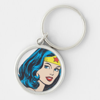 Wonder Woman Face Silver-Colored Round Keychain