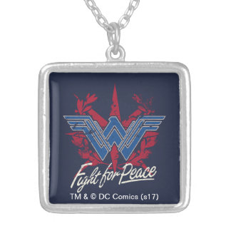 Wonder Woman Fight For Peace Symbol Silver Plated Necklace