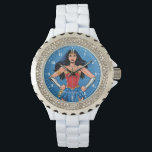 "Wonder Woman - Fight For Peace Wristwatch<br><div class=""desc"">Check out Wonder Woman standing tall and customize it by changing the number font and color!</div>"
