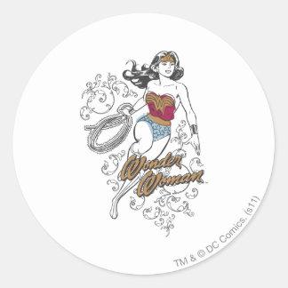 Wonder Woman Flourish Classic Round Sticker