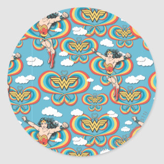 Wonder Woman Flying High Pattern Classic Round Sticker