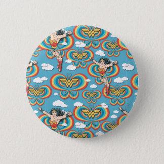 Wonder Woman Flying High Pattern Pinback Button
