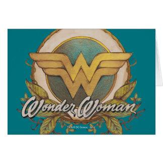 Wonder Woman Foliage Sketch Logo Card