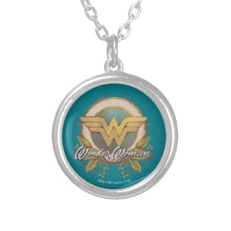 Wonder Woman Foliage Sketch Logo Silver Plated Necklace