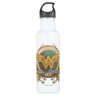 Wonder Woman Foliage Sketch Logo Water Bottle