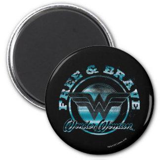 Wonder Woman Free & Brave Grunge Graphic 2 Inch Round Magnet