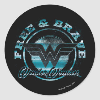 Wonder Woman Free & Brave Grunge Graphic Classic Round Sticker