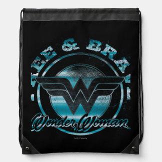 Wonder Woman Free & Brave Grunge Graphic Drawstring Bag