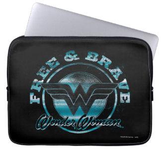 Wonder Woman Free & Brave Grunge Graphic Laptop Sleeve