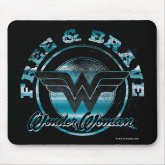 Wonder Woman Free & Brave Grunge Graphic Mouse Pad