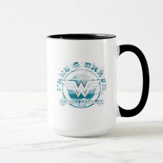 Wonder Woman Free & Brave Grunge Graphic Mug