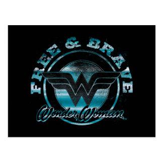 Wonder Woman Free & Brave Grunge Graphic Postcard