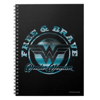 Wonder Woman Free & Brave Grunge Graphic Spiral Notebook
