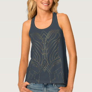 Wonder Woman Gold & Navy Armor Outline Tank Top