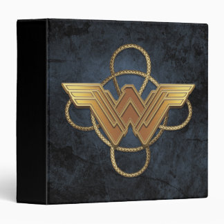 Wonder Woman Gold Symbol Over Lasso Binder